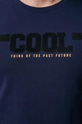 Sateen Men Erkek Lacivert Kabartma Baskılı T-Shirt 2