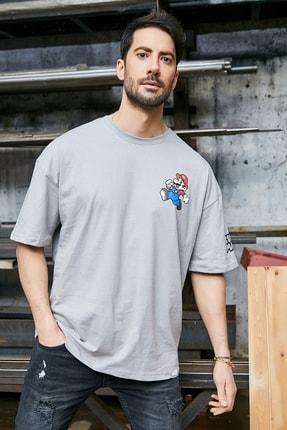Sateen Men Erkek Gri Baskılı T-Shirt 1