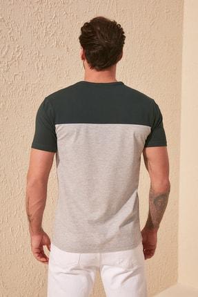 TRENDYOL MAN Zümrüt Yeşili Erkek Çizgili Slim Fit T-Shirt TMNSS20TS0166 3