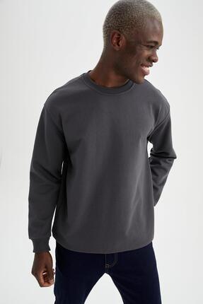 Defacto Erkek Gri Oversize Fit Bisiklet Yaka Basic Sweatshirt 4