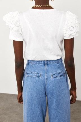 Xena Kadın Beyaz Kolları Güpürlü T-Shirt 1KZK2-11588-01 2