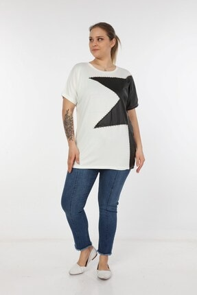 Womenice Kadın Beyaz Önü Derili Yıldız Taşlı Büyük Beden Bluz 1