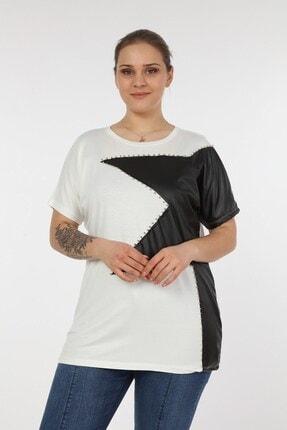 Womenice Kadın Beyaz Önü Derili Yıldız Taşlı Büyük Beden Bluz 2