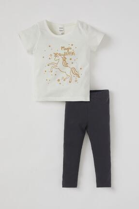 Defacto Kız Bebek Unicorn Baskılı Pamuklu Kısa Kol Tişört Ve Tayt Takımı 0