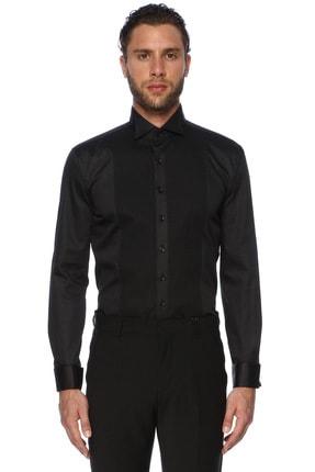 Erkek Slim Fit Siyah Ata Yaka Piliseli Smokin Gömleği 1067485