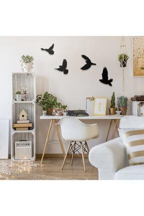 Üçgen Dekoratif Modern Dörtlü Kuş Duvar Süsü Duvar Dekoru 4 Adet 3