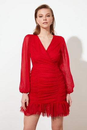 TRENDYOLMİLLA Kırmızı Drape Detaylı  Elbise TPRSS20EL0317 1