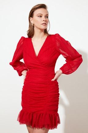 TRENDYOLMİLLA Kırmızı Drape Detaylı  Elbise TPRSS20EL0317 2