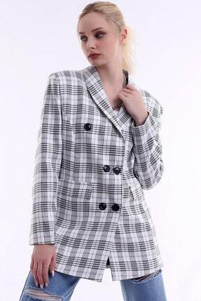 R&M Collection Özel Tasarım, Düğmeli, Cep Kapaklı, Sezon Trendi, Kare Blazer Ceket 2
