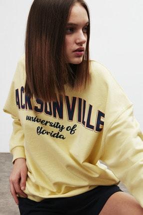 GRIMELANGE RAMONA Kadın Sarı Önü Baskılı Sweatshirt 2