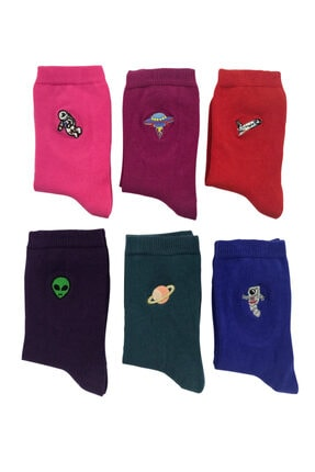 Bequeme Uzay Astronot Desenli Nakışlı Kokulu Renkli Çorap 6'lı 1