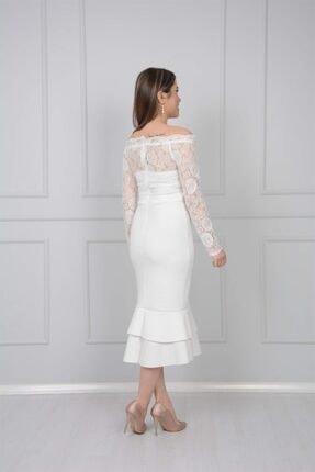 giyimmasalı Üst Güpür Alt Scuba Eteği Volanlı Elbise - Beyaz 3