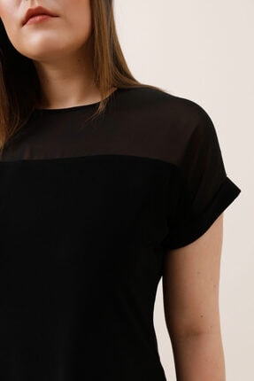 Gusto Şifon Garnili Bluz - Siyah 1