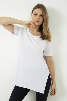 Vis a Vis Kadın Beyaz Yanları Yırtmaçlı Uzun T-shirt 4