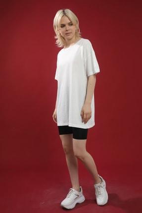 Grenj Fashion Beyaz Pamuk Bisiklet Yaka Oversize Örme Tshirt 0