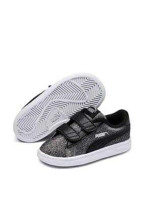 Puma Puma Smash V2 Glitz Glam Siyah Gri Erkek Çocuk Sneaker Ayakkabı 100415319 resmi