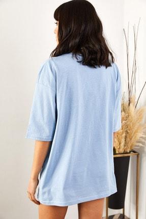 Olalook Kadın Bebe Mavi Renkli Ayılı Oversize T-shirt 2