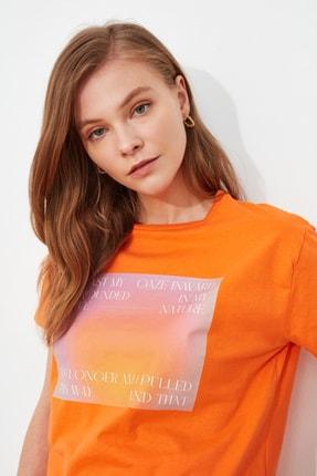 TRENDYOLMİLLA Turuncu semiftt T-Shirt TWOSS21TS2896 1