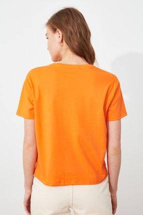 TRENDYOLMİLLA Turuncu semiftt T-Shirt TWOSS21TS2896 3