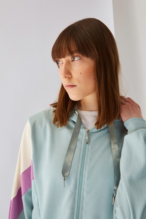 Trendyol Modest Mint Panelli Fermuarlı Örme Sweatshirt TCTSS21SW0340 2