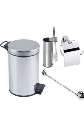 Banyo Çöp Kovası Seti Çöp Kovası Fırça Kağıtlık Havluluk 5 E9224