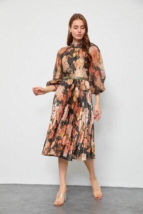 Kadın Haki Floral Desen Piliseli Elbise ST050W40375007