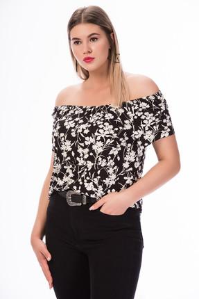 Picture of Kadın Siyah Omzu Açık T-Shirt SM2R4052