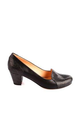 Dgn Gümüş Petek Siyah Kadın Klasik Topuklu Ayakkabı 258-148 1