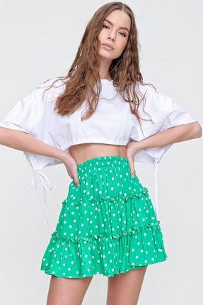 Trend Alaçatı Stili Kadın Yeşil Fırfırlı Mini Etek ALC-X5763 0