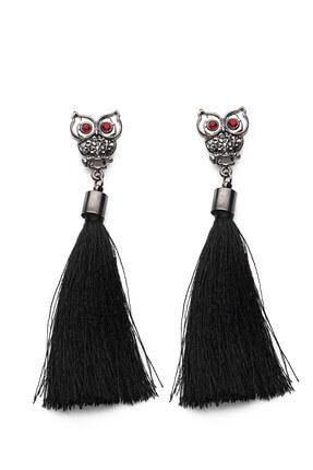 Modex Kadın Baykuş Figürlü Siyah Püskül Küpe UKP9506 1