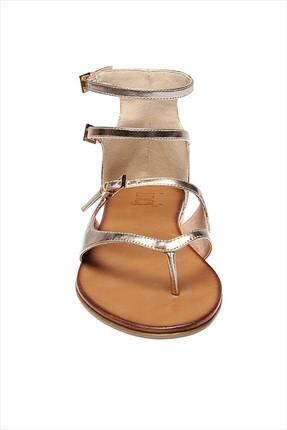 İnci Hakiki Deri Altın Kadın Sandalet 120120543046 2
