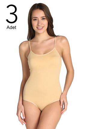 Tutku Kadın Ten 3'lü Paket  İp Askılı likralı Kancalı Çıtçıtlı Body ELF568T0148CCM3 0