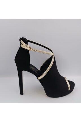 Kadın Siyah Süet Topuklu Ayakkabı SİYAH TOPUKLU KADIN AYAKKABI