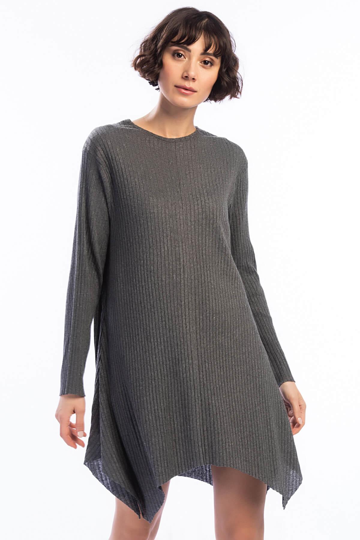 Cotton Mood Kadın Füme Kalın Fitilli Uzun Kol Çan Tunik Elbise 8411104