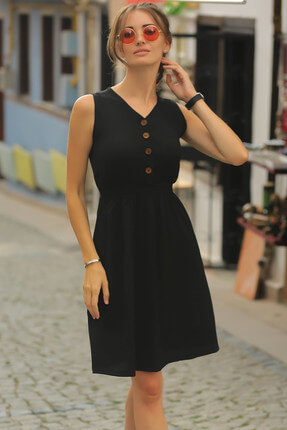 armonika Kadın Siyah Beli Lastikli Üstü Düğmeli Elbise ARM-18Y001152 1