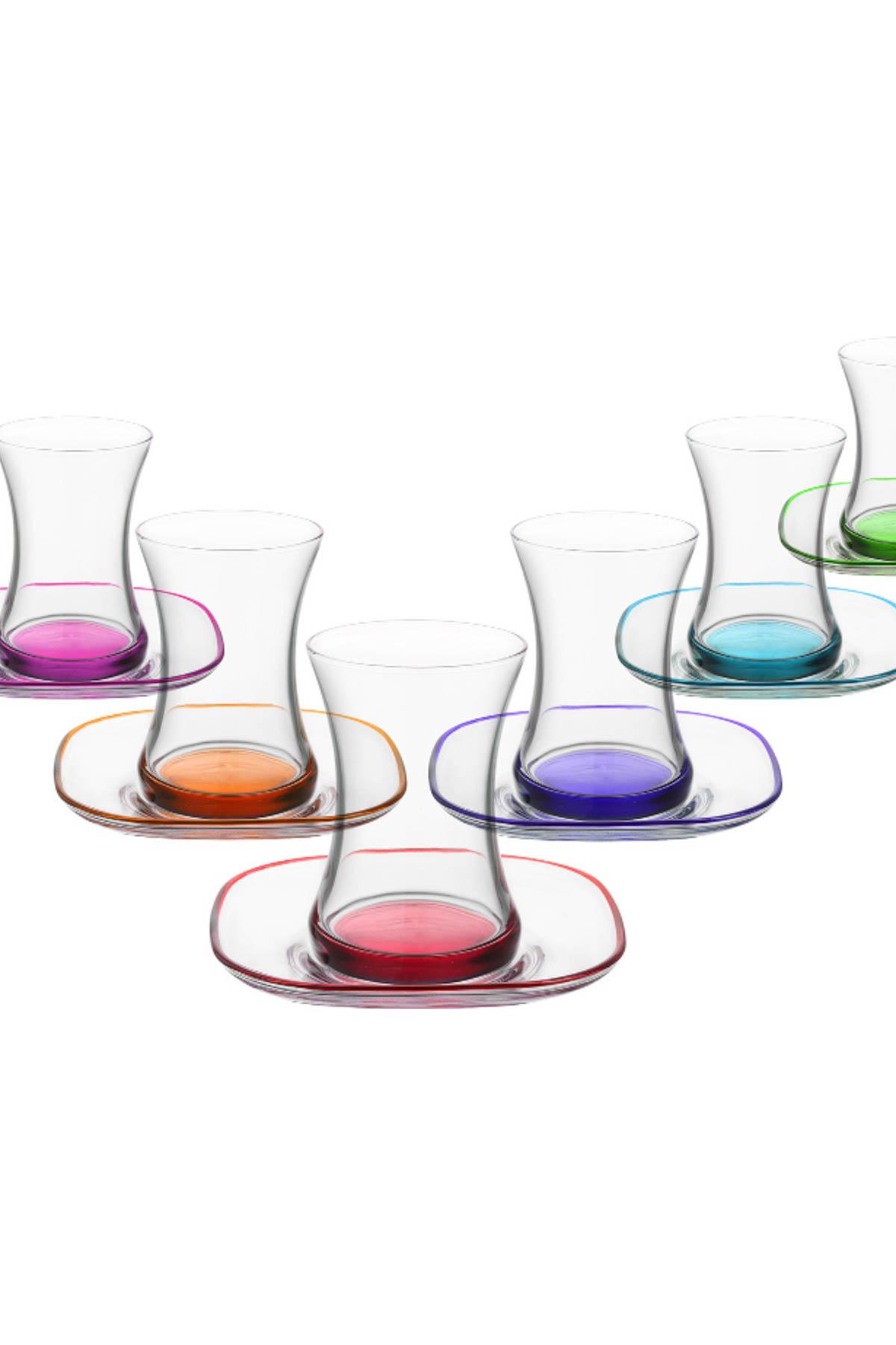 Zen Renkli Tabanlı 12 Parça Çay Seti