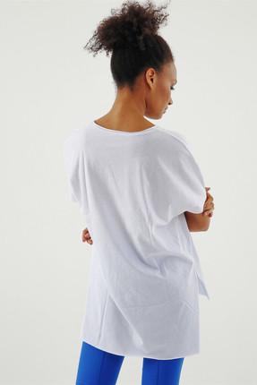 Jument Kadın Beyaz Süprem V Yaka Yırtmaçlı Bluz 7006 2