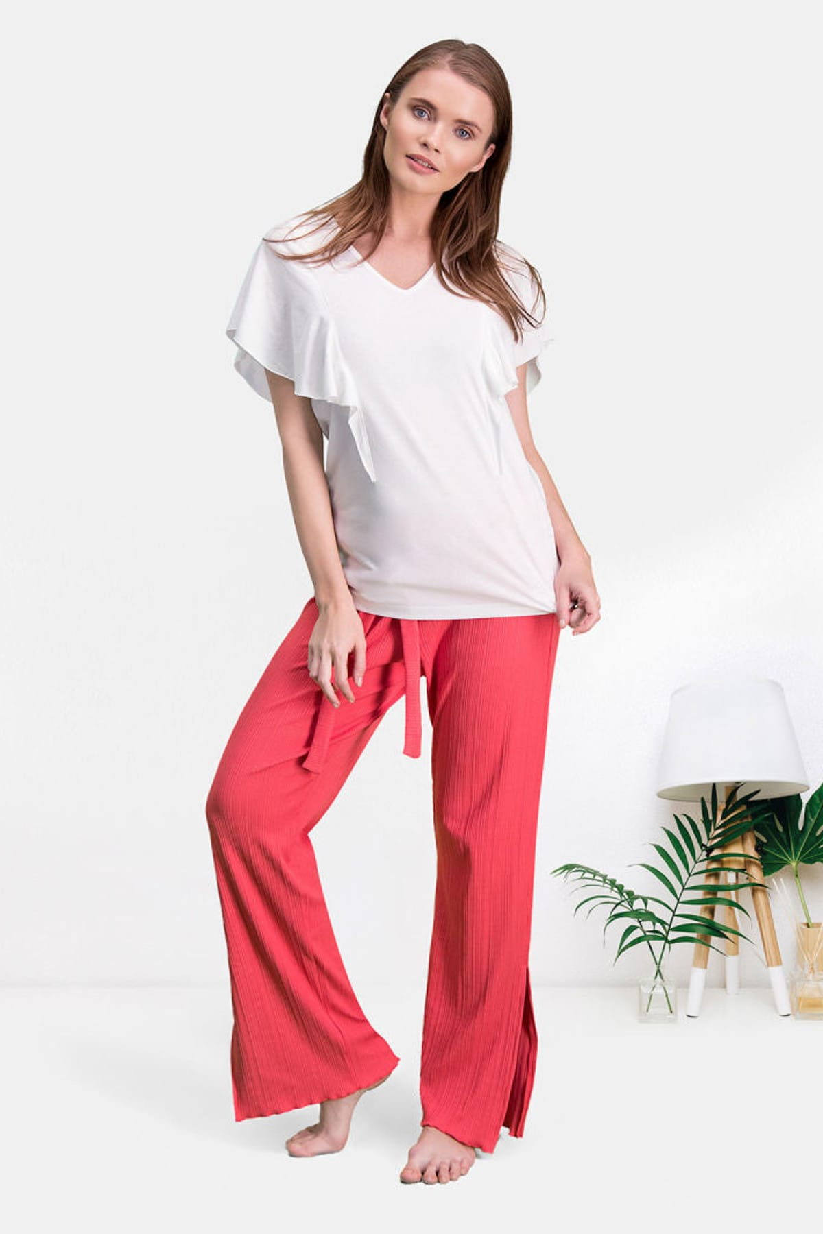 Krem Kadın Pantolon Bluz Takım