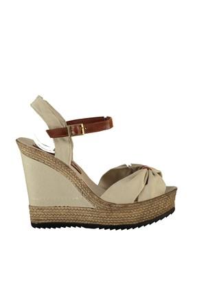 Fox Shoes Bej Kadın Dolgu Topuklu Ayakkabı 9674071005 1