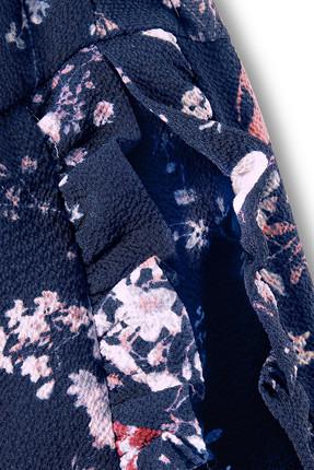 Tchibo Lacivert Çiçekli Fırfırlı Bluz 93277 2