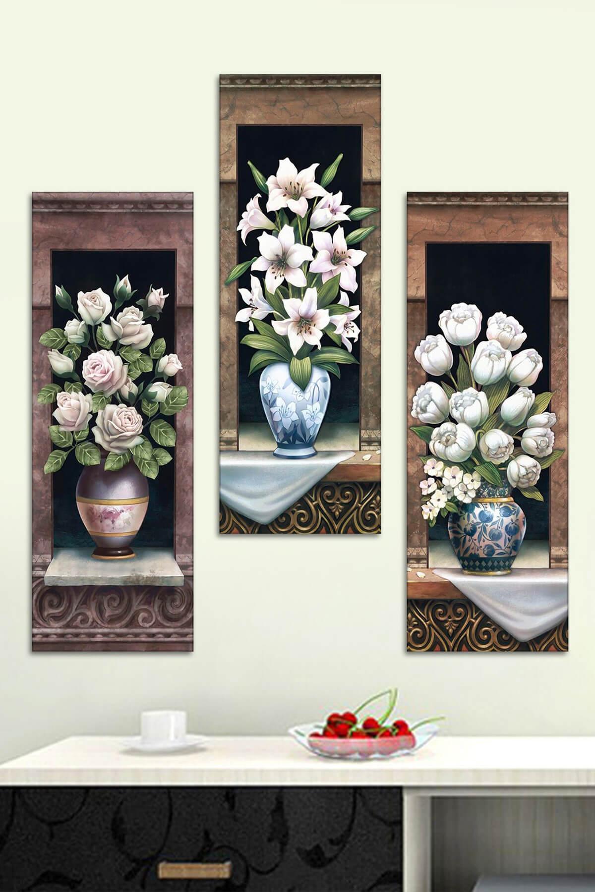 3 Parçalı Vazoda Çiçekler Mdf Tablo