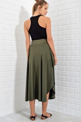 Trend Alaçatı Stili Kadın Haki Asimetrik Kesim Etek ALC-5402 3