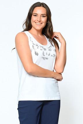 Kadın Beyaz Kolsuz Taşlı Baskılı Bluz 2166 resmi