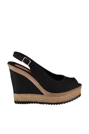 Fox Shoes Siyah Kadın Dolgu Topuklu Ayakkabı 9674070805 1