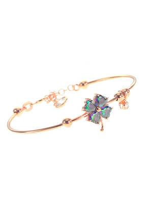 Söğütlü Silver Kadın Rose Renk Gümüş Mistik Taşlı Yonca Bilezik SGTL8650 0