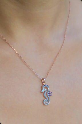 Argentum Concept Kadın 925 Ayar Gümüş Zirkon Taşlı Gümüş Denizatı Kolye N098301 2