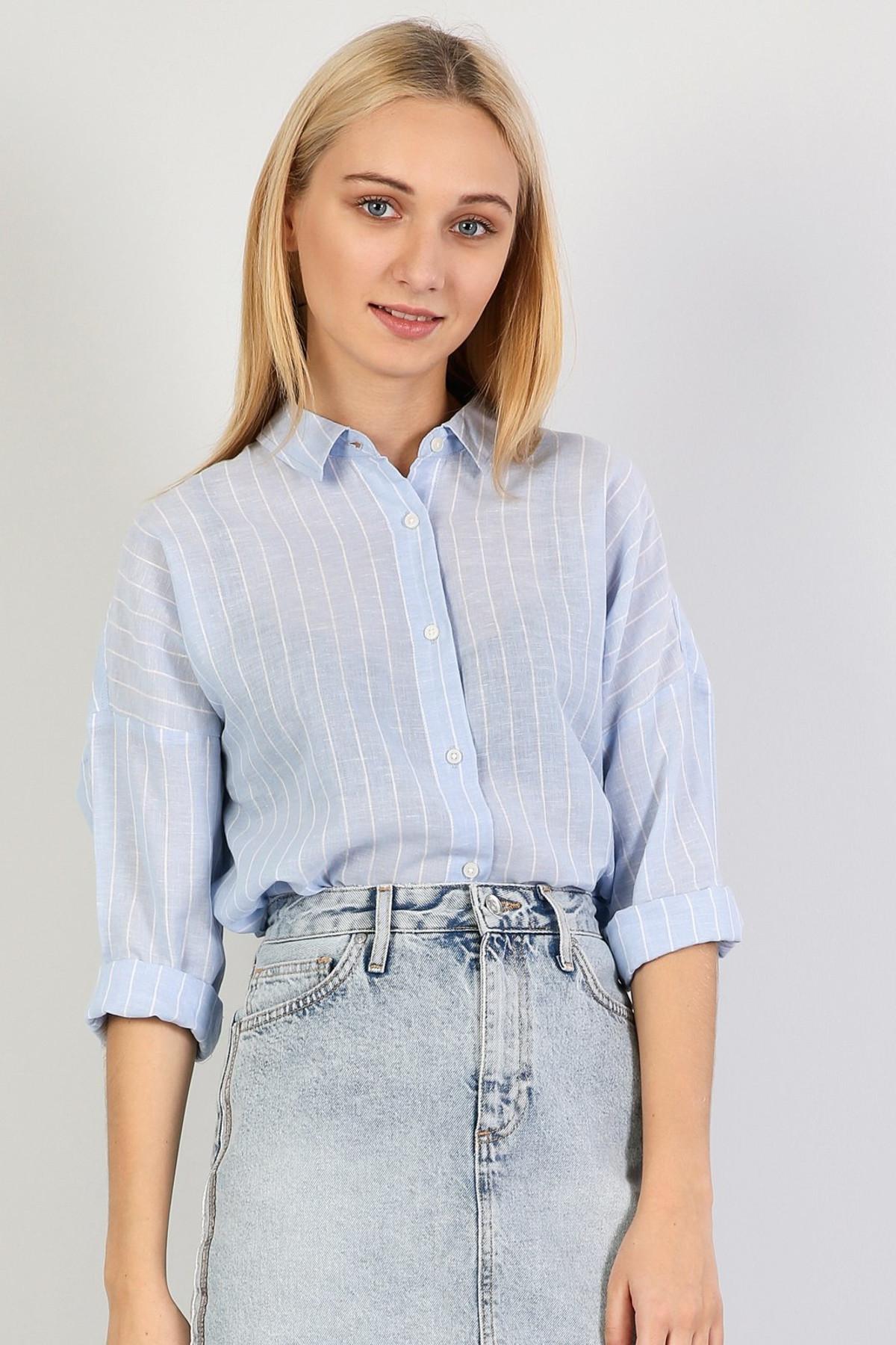 KADIN Relaxed Fit Kadın Mavi Uzun Kol Gömlek CL1042552