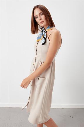 Journey Kadın Bej Ön Orta Tüm Düğmeli İnce Askılı Torba Cep Kloş Elbise 18YELB262 0