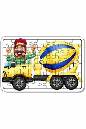 Baskı Atölyesi Çimento Arabası, Itfaiye, Arabalar 54 Parça Ahşap Puzzle 1