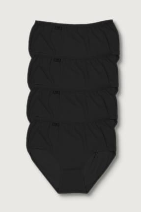 Tutku Kadın Siyah 4'lü Paket  Likralı Bato Külot ELF568T0924CCM4 0